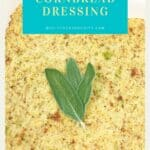 Baked dressing in square white dish