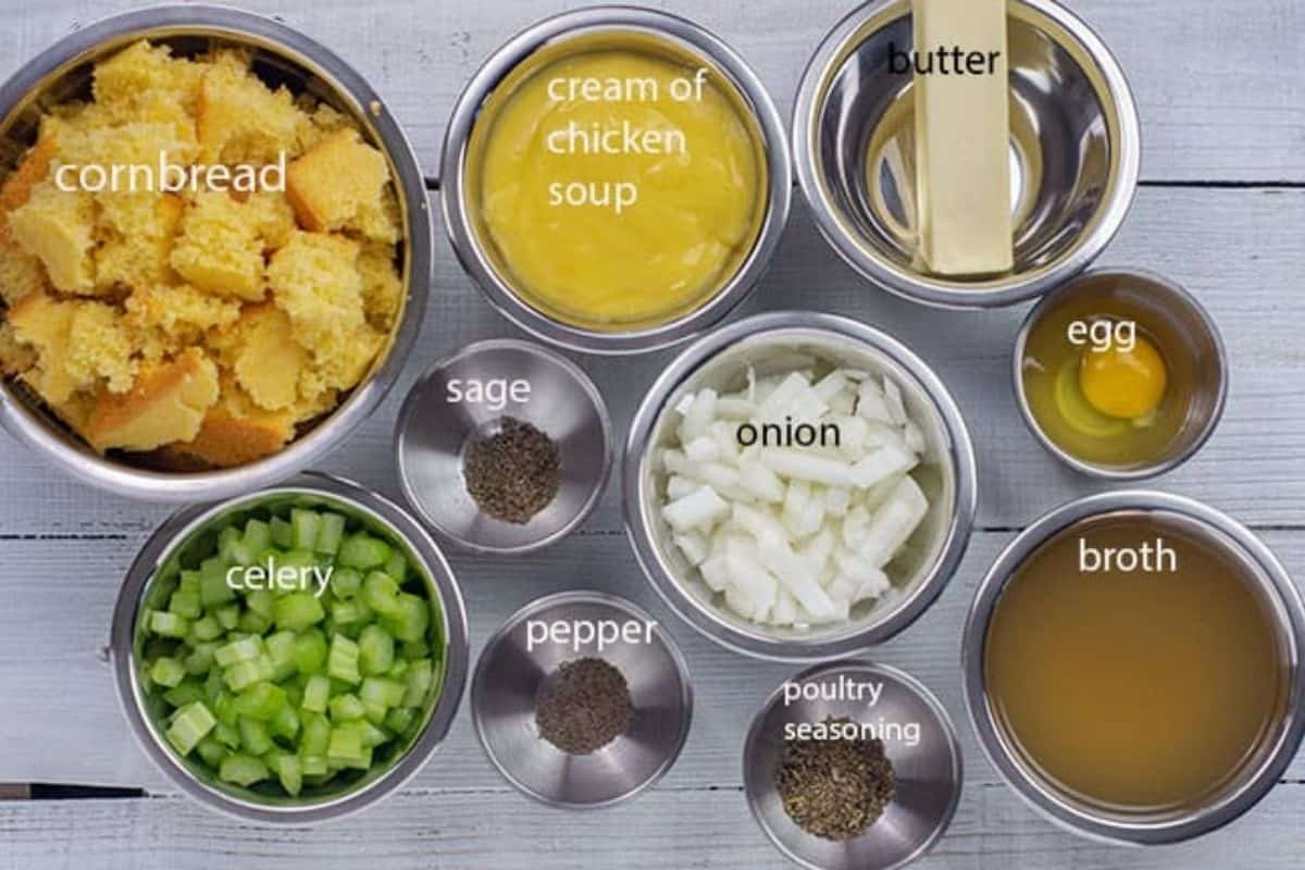 all ingredients measuring out in bowls on counter top