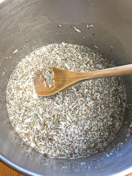 mixing low carb oatmeal ingredients in saucepan