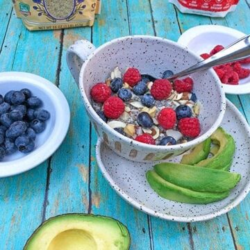 low carb keto oatmeal in bowl with avocado