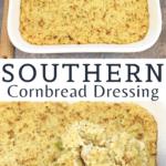 southern cornbread dressing in square white casserole dish