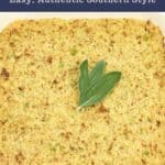 southern cornbread dressing in square white casserole dish with parsley garnish