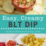 BLT dip in red bowl with crostini on side