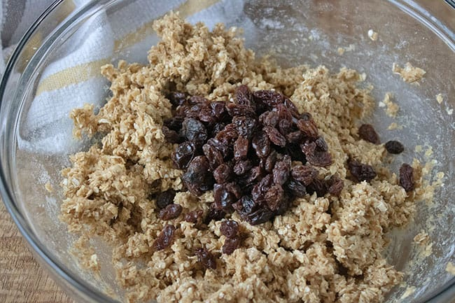 Oatmeal Cookie dough with raisins