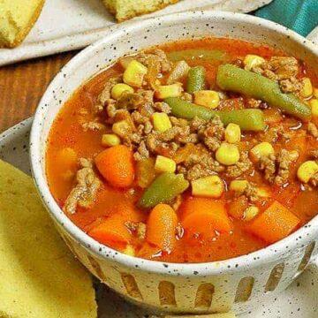 easy hamburger vegetable soup in bowl