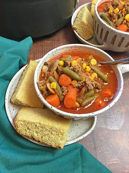 hamburger vegetable soup in bowl