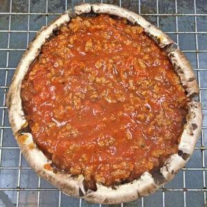 layer 1 beef sauce inside mushrrom