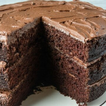 easy chocolate frosted chocolate cake slice