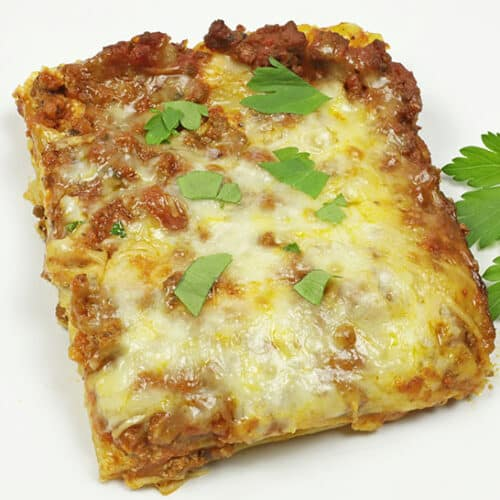 easy meat lasagna on white plate