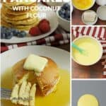 collage of pictures of keto pancakes on white plate with fruit