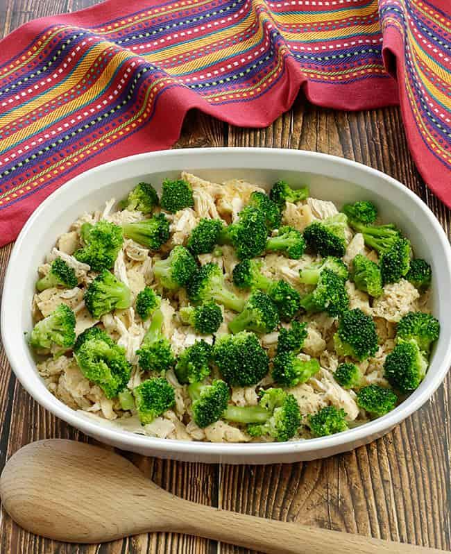 chicken and broccoli in casserole dish