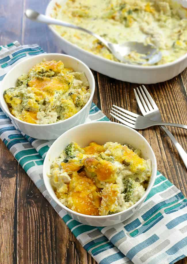 baked casserole in white bowls