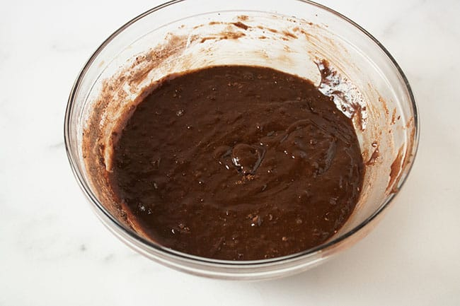 chocolate layer in mixing bowl