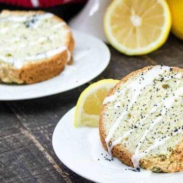 slice of poppy seed cake with lemon glaze drizzle