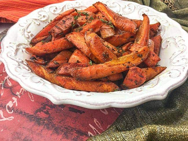 bowl of roasted carrots