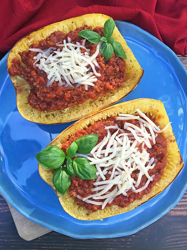 squash stuffed with meat sauce