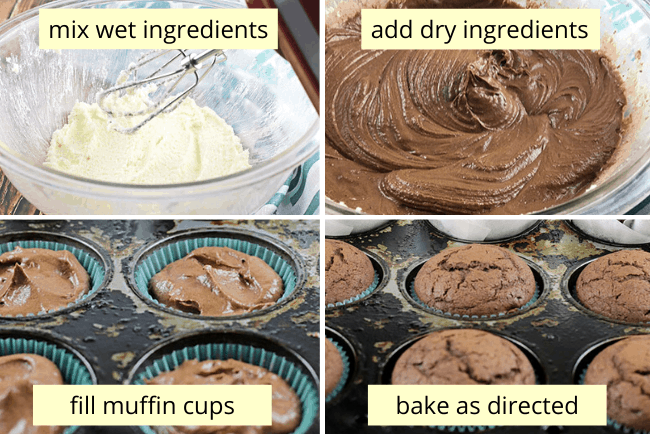 collage of easy muffin directions