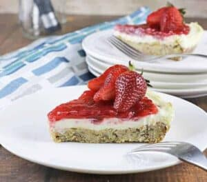 low-carb-strawberry-cheeecake-slice on white plate