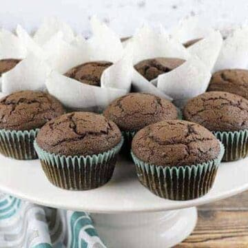 muffins on white cake plate