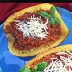 roasted squash with meat sauce and cheese