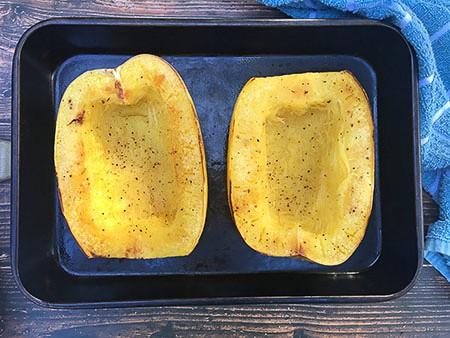 squash in pan after baking