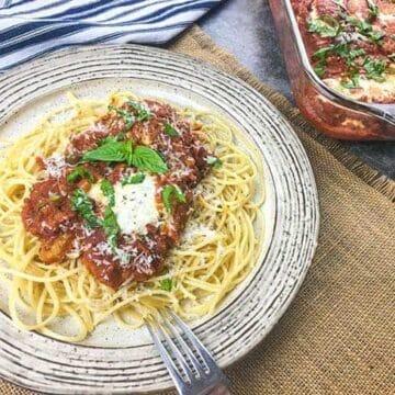 Chicken Parmesan over Spaghetti