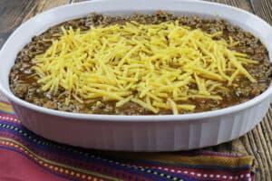 layered casserole before baking