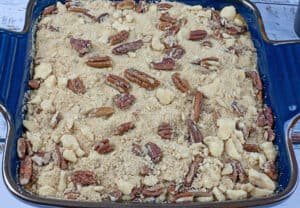 before baking sweet potato casserole with pecan topping