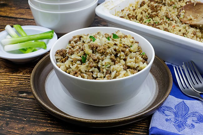 cooked dirty rice in bowl