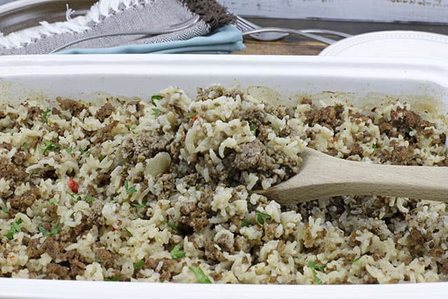 dirty rice in casserole dish