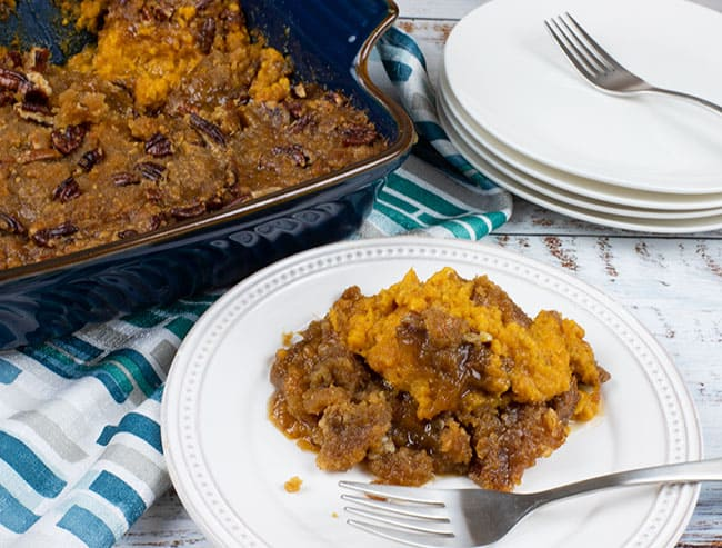 plate with serving of sweet potato casserole