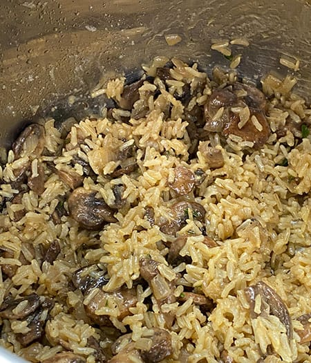 add mushroom mixture and butter to pot