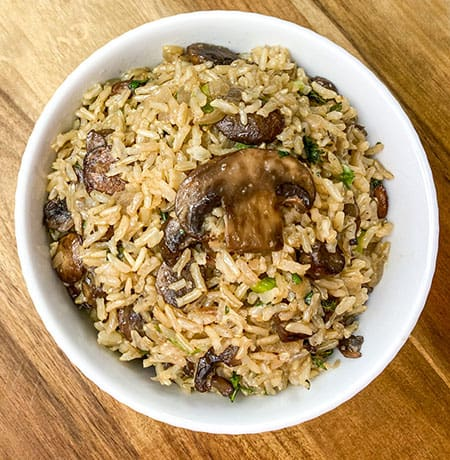cooked instant pot rice in white bowl