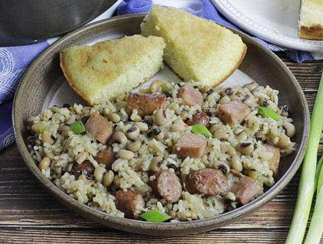easy blackeye pea jambalaya in plate with cornbread