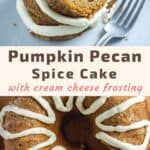 pumpkin spice bundt cake with pecans recipe pin
