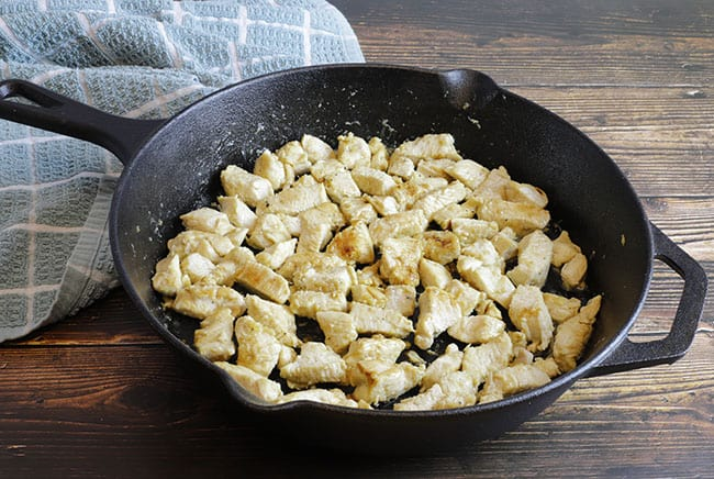 sauteed chicken in skillet