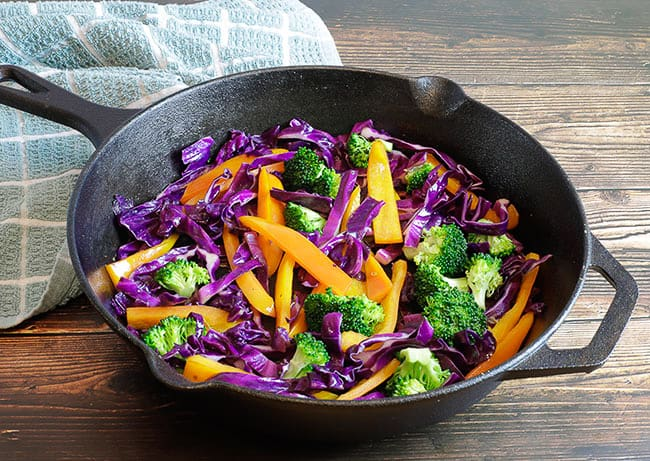 sauteed vegetables in skillet