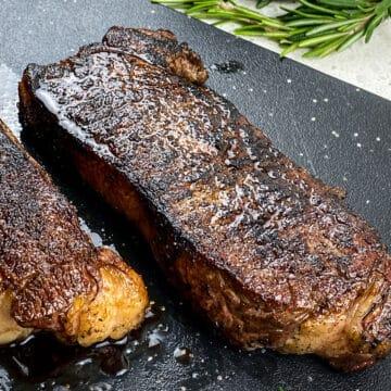 Medium Rare Cooked Reverse Sear Strip Steak