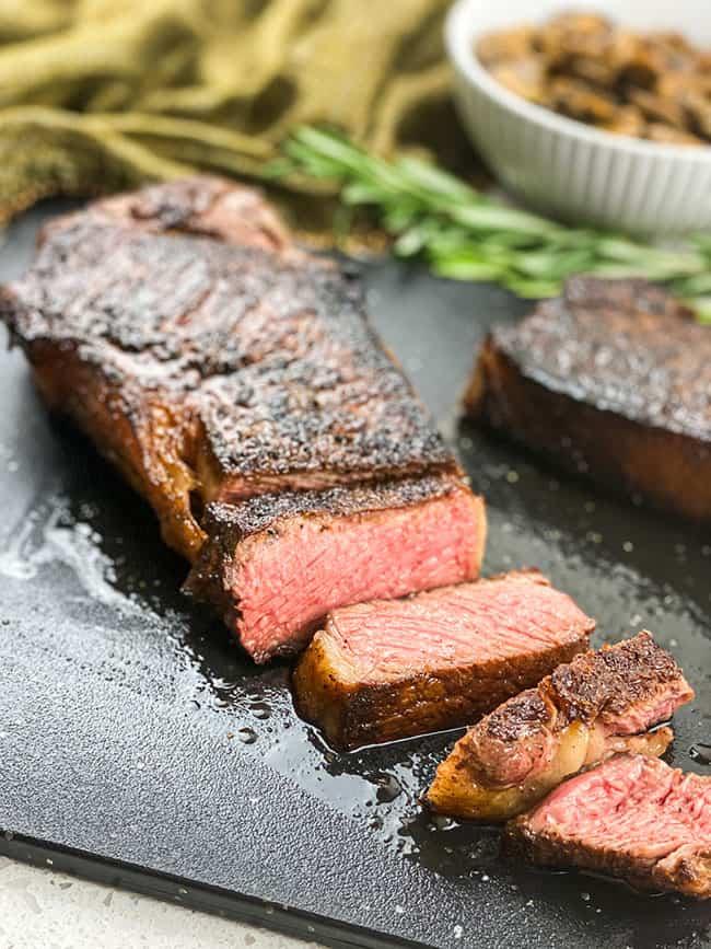 Sliced Medium rare steak