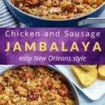chicken and sausage jambalaya recipe pin