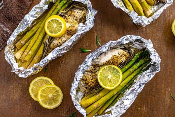 Lemon Pepper Chicken Foil Packets with Asparagus and Rosemary
