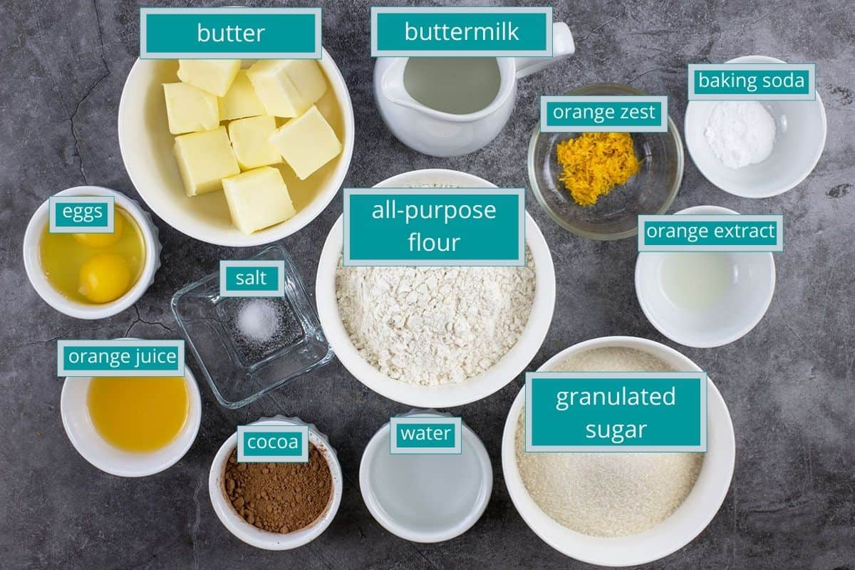 cake ingredients measured out on table