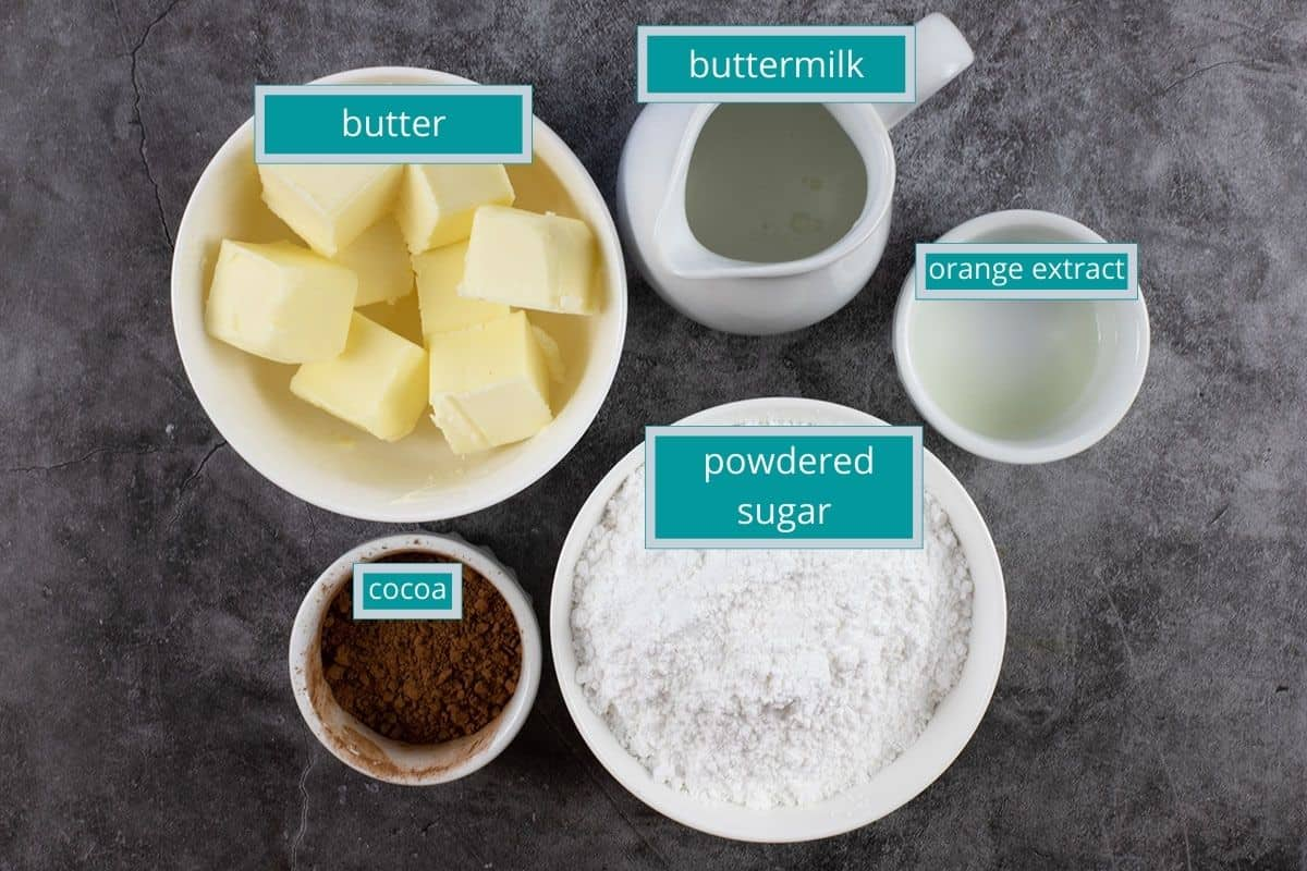 frosting ingredients measured out on table