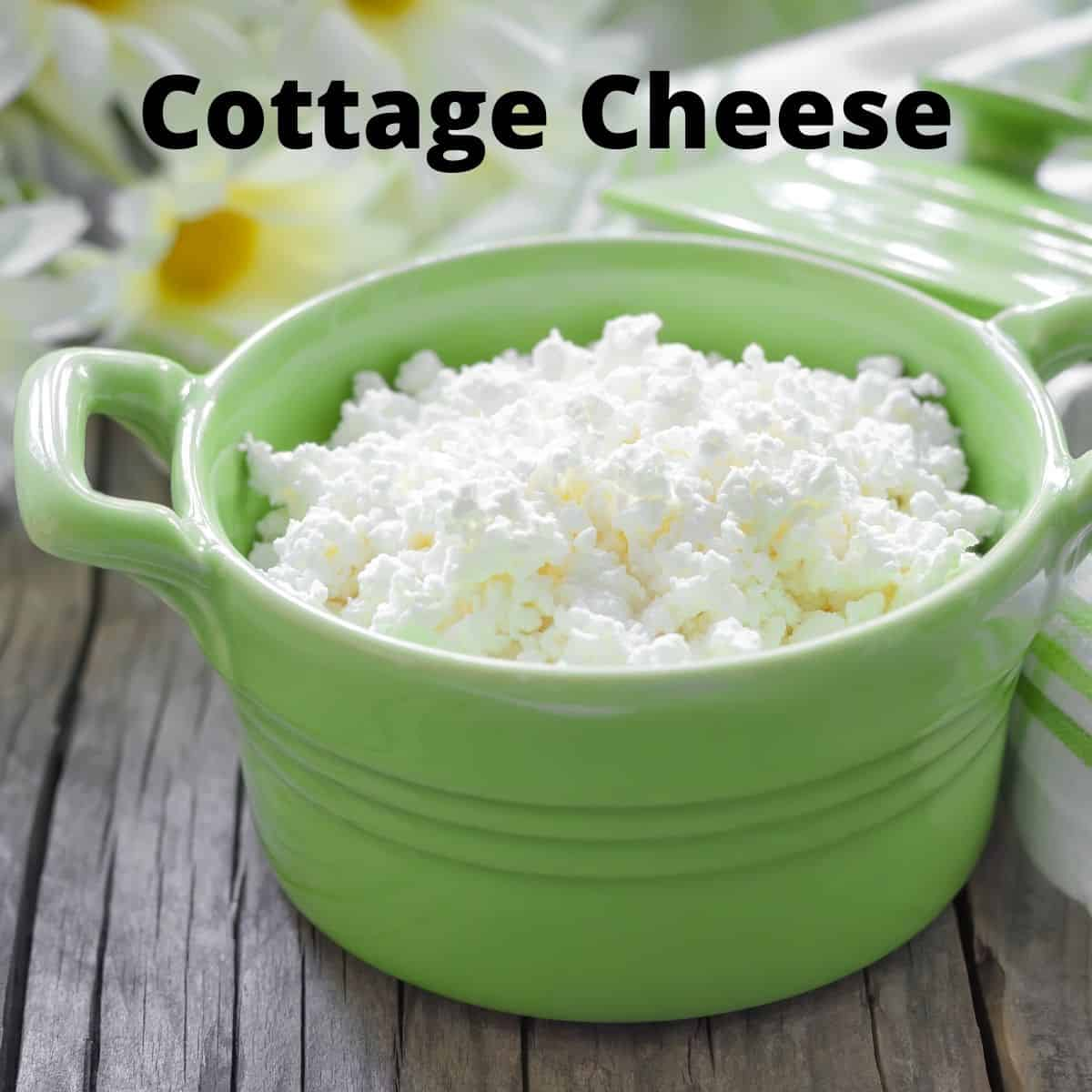 cottage cheese in green bowl