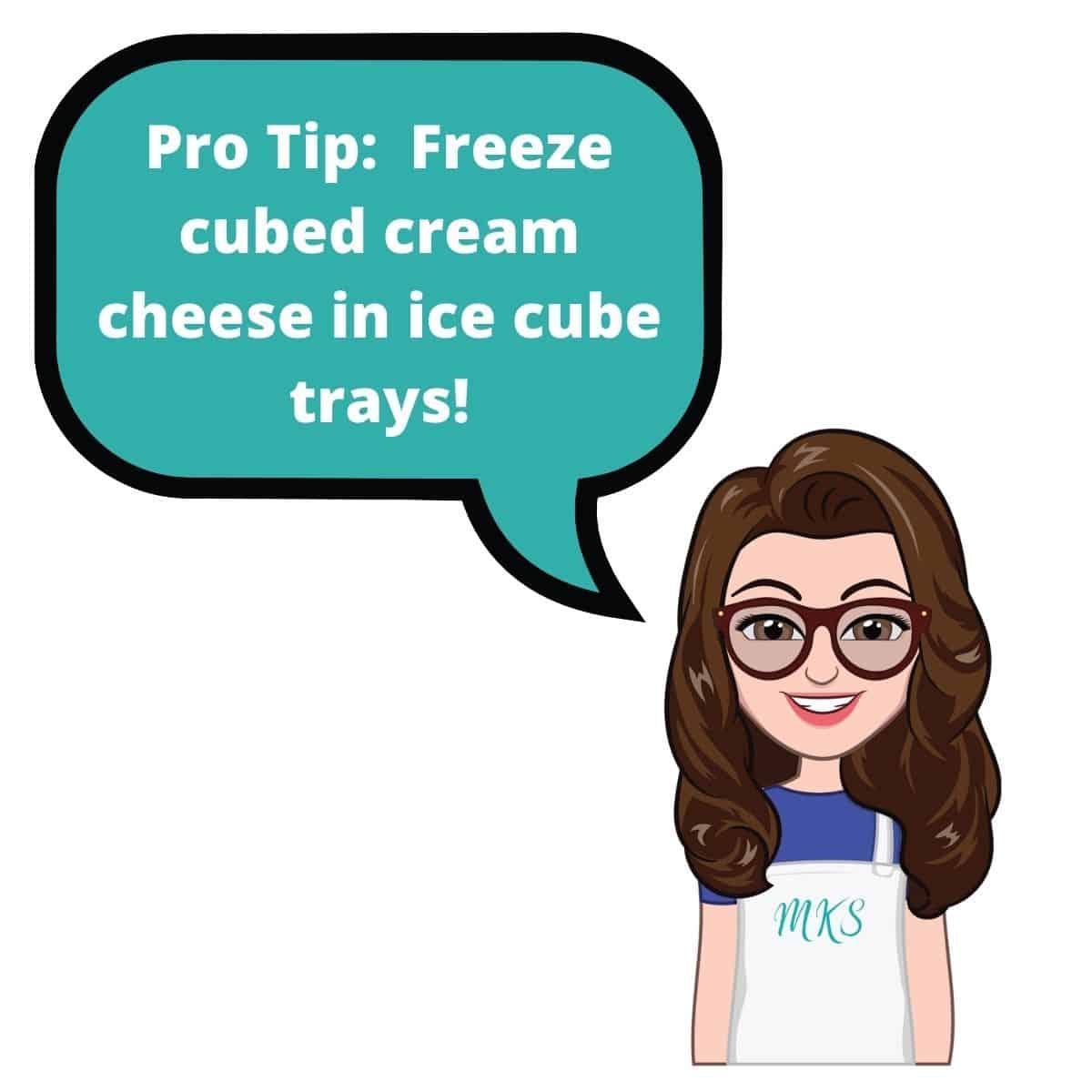 Cartoon callout freezing cream cheese tip