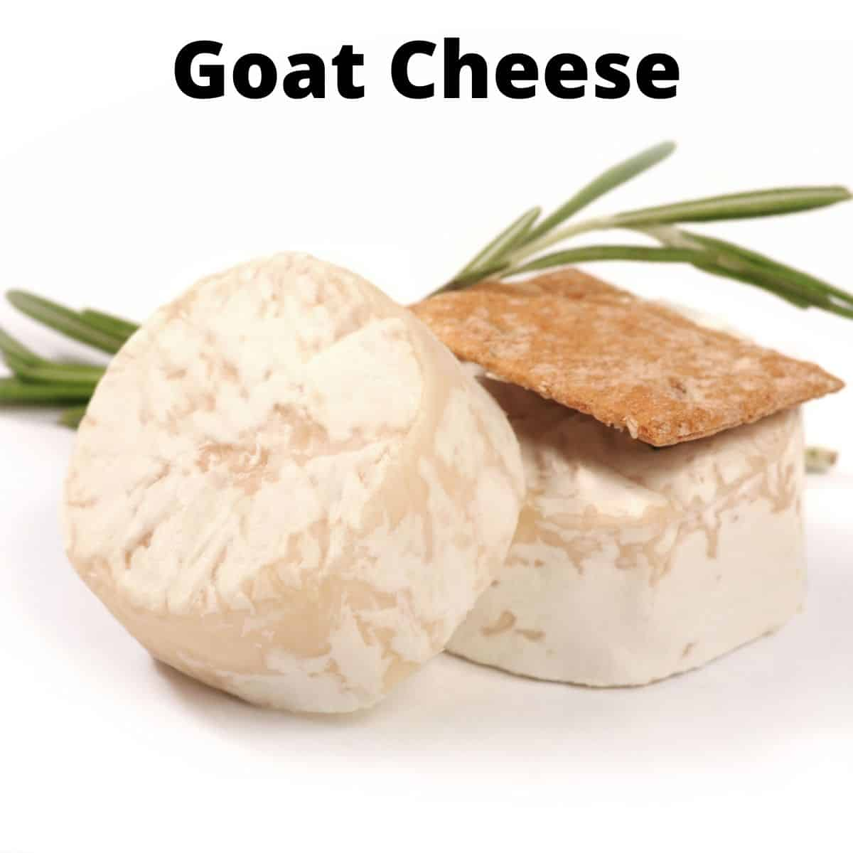 sliced goat cheese wheels with wheat cracker on top