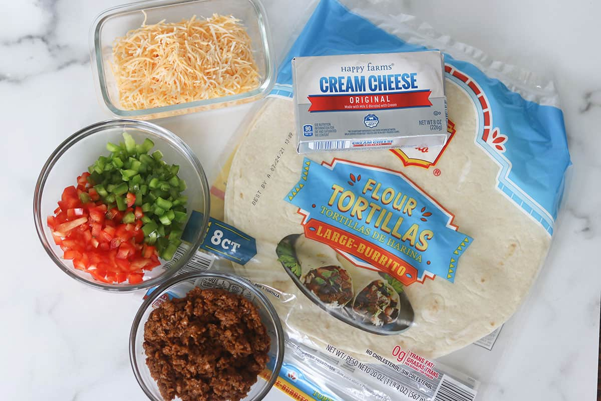 ingredients for leftover taco meat pinwheels