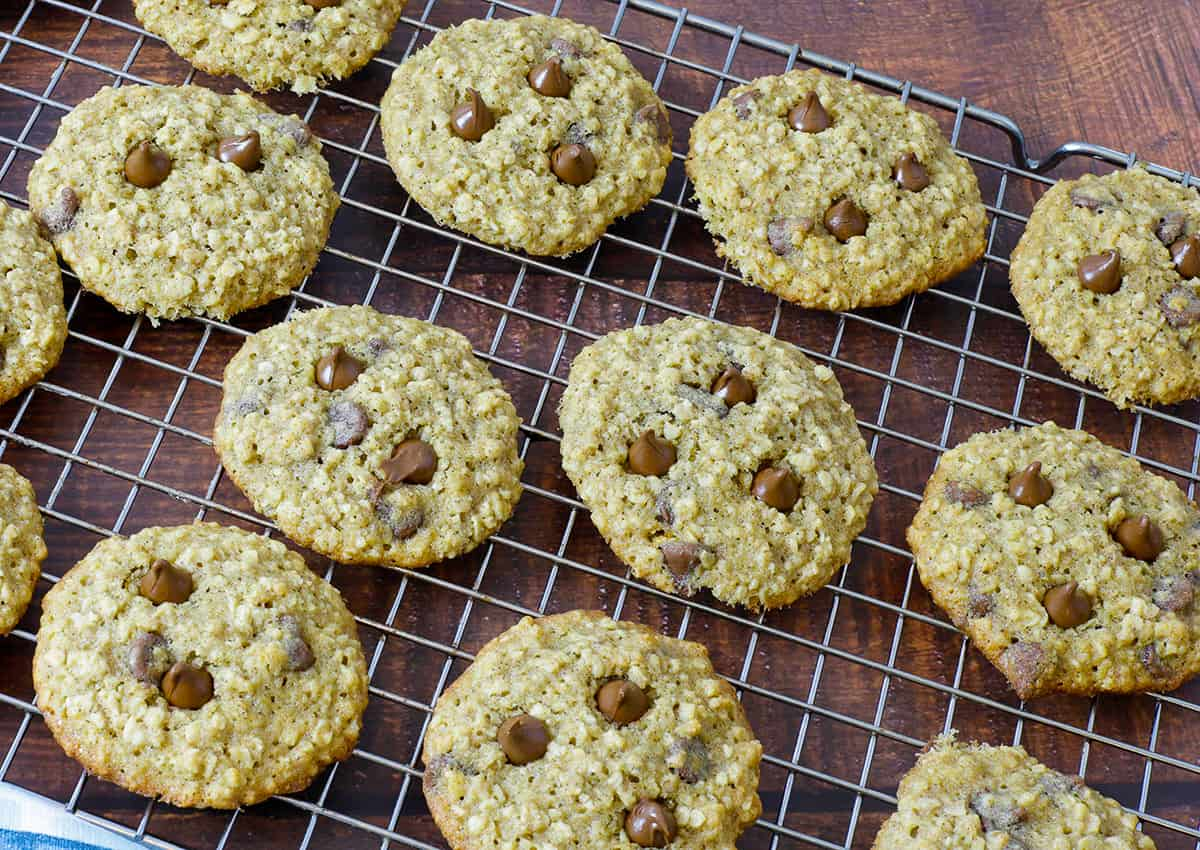 baked cookies cooling on a wire cooling rack