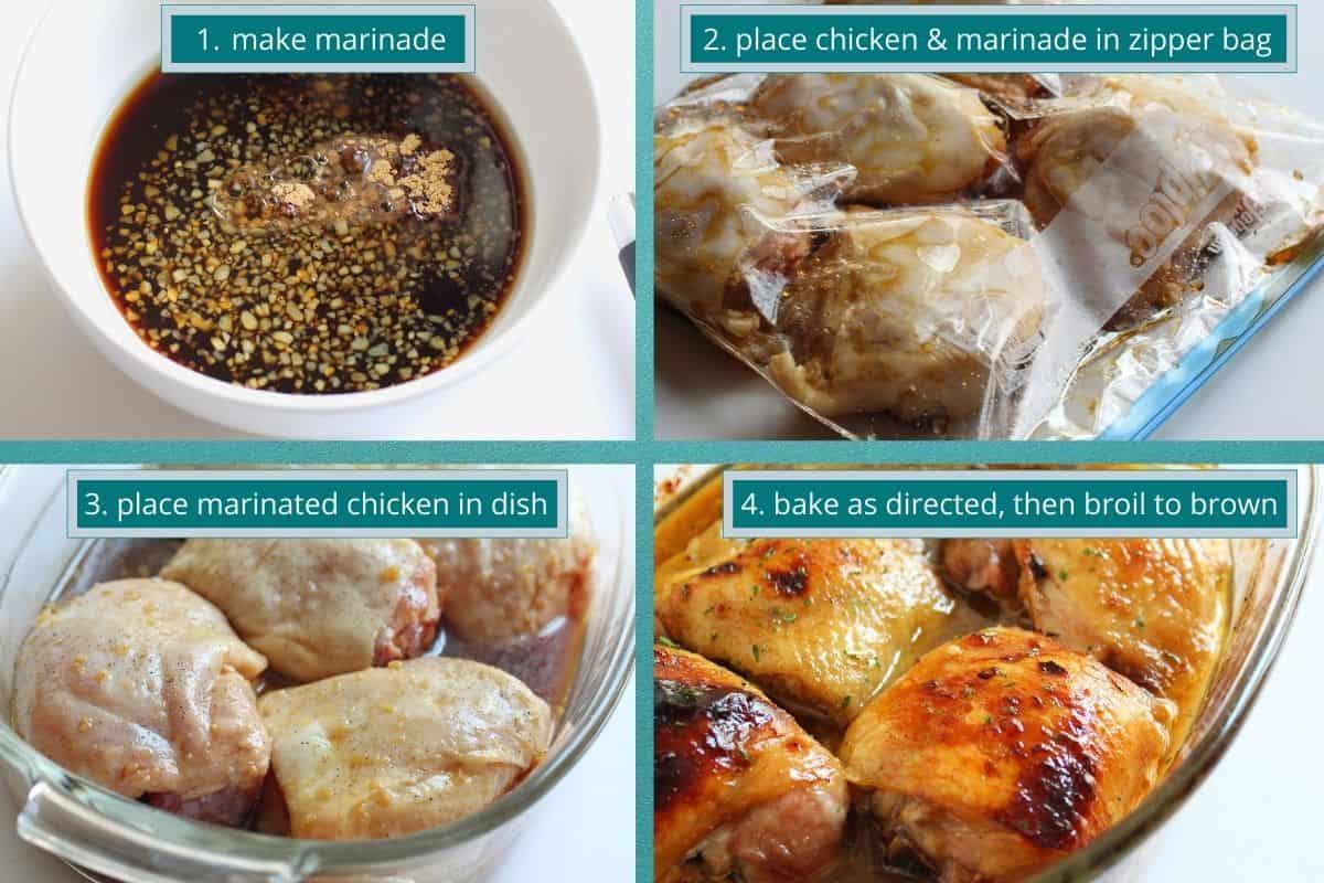four pictures of marinade in bowl, chicken in ziplock bag, chicken in baking dish, baked chicken in dish